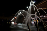 "Chattanooga, Tennessee, bridge, dark, fountain, ""market street bridge"", night, water, ""water cannon"""