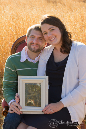 "couple, professional photographer chattanooga, tn, ""christine lewis photography"" anniversary, one year, love, marriage, field, warm, green, tall grass, brown"