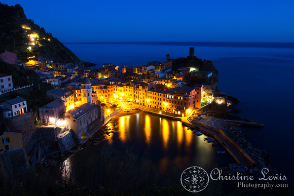 "cinque terre, italy, travel, ""christine lewis photography"", home decor, fine art print, unesco world heritage site, ligurian sea, mediterranean, vernazza, night, twilight"