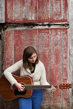 "senior portrait, professional, chattanooga, ooltewah, tn, girl, female, class of 2013, ""christine lewis photography"", outdoor, natural, guitar, red, rustic"