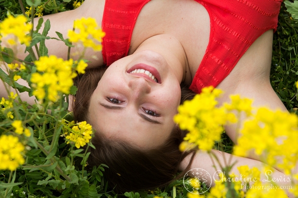 "senior portrait, professional, chattanooga, ooltewah, tn, girl, female, class of 2013, ""christine lewis photography"", outdoor, natural, field of flowers, yellow, coral, spring"