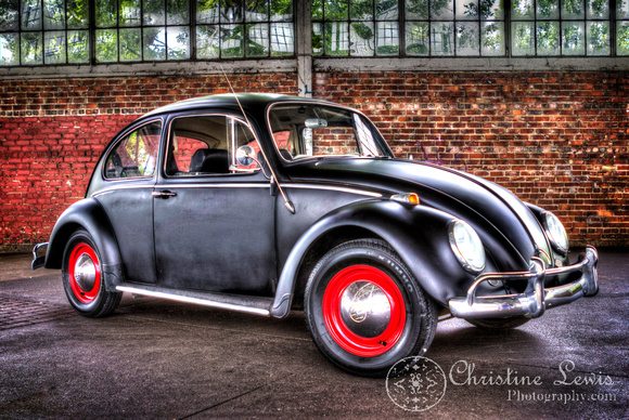 "Volkswagon beetle, black, red, brick, HDR, ""christine lewis photography"""