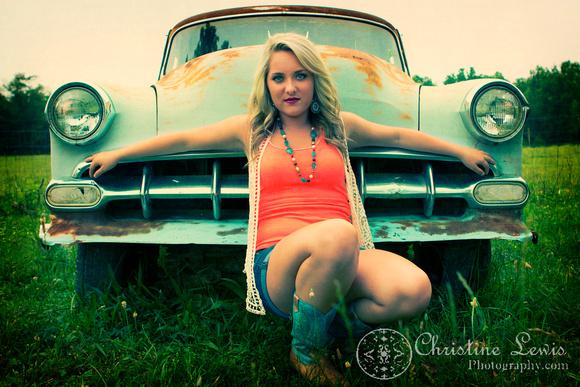 "junior portrait, photo shoot, session, outdoor, natural, girl, ""christine lewis photography"", orange, belair, vintage, car"
