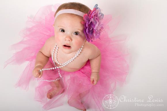 "baby photography, portrait, studio, chattanooga, tn, hixson, ""christine lewis photography"", girl, pearls, tutu, pink, bow"