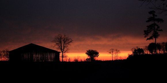 barn, dark, morning, orange, silhouette, sunrise, trees