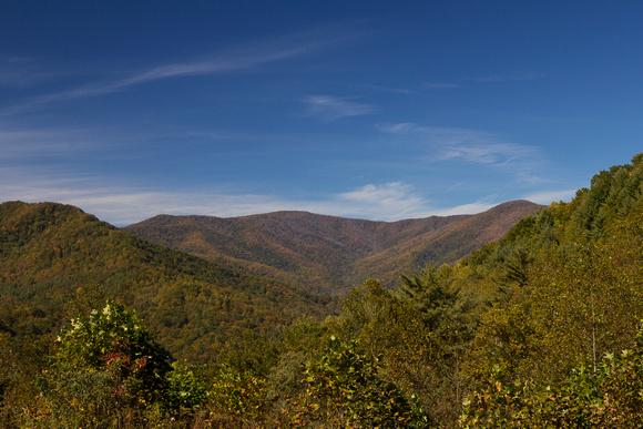 Santeetlah Gap, North Carolina, Cherohala Skyway, blue sky, mountains, fall, fine art print, home decor, elevation 2660