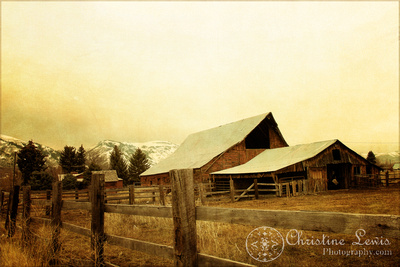 wyoming, travel, vintage, rustic, old, plains, cabin, landscape, art print, red, mountains, snow