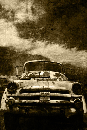 "Dodge, abandoned, down, grungy, headlights, portrait, sepia, texture, ""tow truck"", worn"