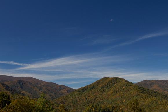 Santeetlah Gap, North Carolina, Cherohala Skyway, blue sky, mountains, fall, fine art print, home decor, elevation 2660, moon
