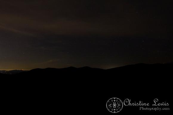 night shot, dark, stars, blue ridge parkway