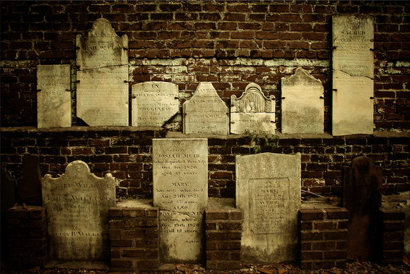 "Cemetary, Georgia, Headstones, Savannah, Wall, burial, ""christine lewis photography"", ""fine art"", orphans, rustic, vintage"