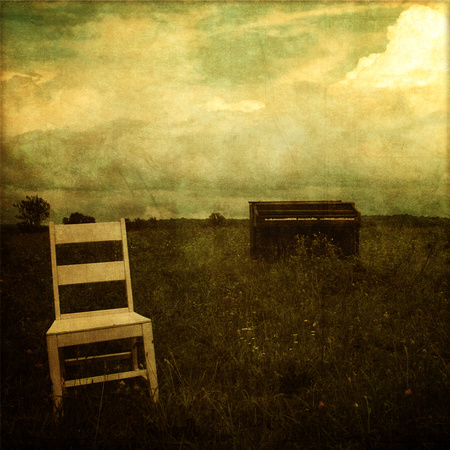 art, decor, fine, home, old, piano, print, textured, vintage, field, sky, empty chair