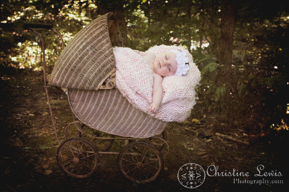 """baby portrait photo shoot, chattanooga, tn, three months old, children, """"Christine Lewis Photography"""", outdoor, sleeping, baby carriage, vintage"""