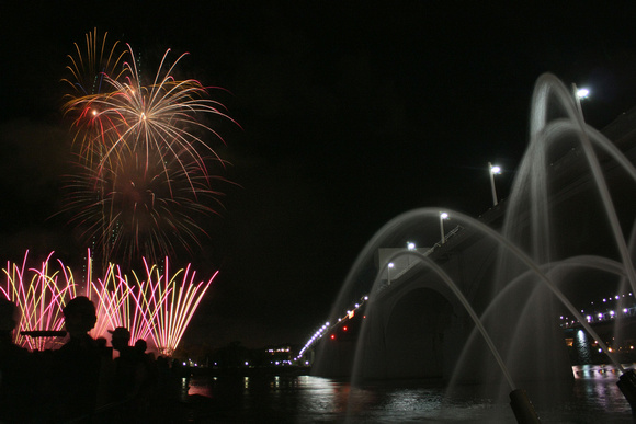 bridge, cannons, fireworks, riverbend, silhouette, tennessee, water