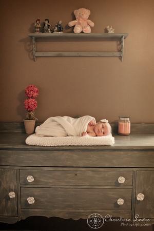 "newborn portrait photo shoot chattanooga, tn, ""christine lewis photography"", natural, nursery, changing table, dresser"
