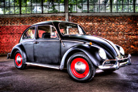 "volkswagon beetle bug, black, red wheels, HDR, brick, car, fine art print, home decor, ""christine lewis photography"""