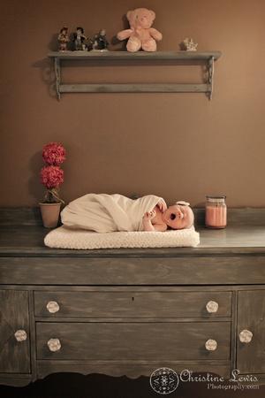 "newborn portrait photo shoot chattanooga, tn, ""christine lewis photography"", natural, yawn, nursery, dresser, changing table"
