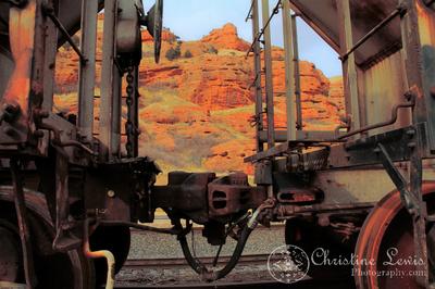 wyoming, travel, landscape, art print, train, rocks, orange, railroad tracks