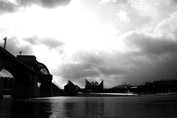 """AT&T Field"", B&W, ""Blue Cross Blue Shield of Tennessee"", Chattanooga, Lookouts, TN, Tennessee, ""Tennessee Aquarium"", ""black and white"", ""market street bridge"", skyline, ""tennessee river"""
