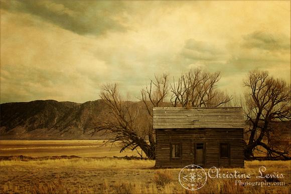 wyoming, travel, vintage, rustic, old, plains, cabin, landscape, art print