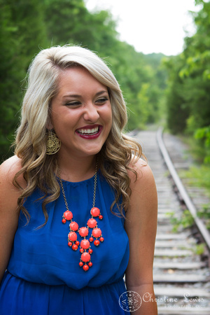 "junior portrait, photo shoot, session, outdoor, natural, girl, ""christine lewis photography"", railroad, tracks, blue, orange, laugh"
