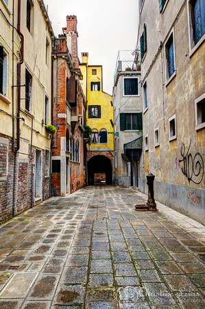 "italy, venice, travel, ""christine lewis photography,"" home decor, fine art print, street, yellow, water, graffiti"