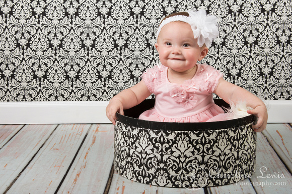 "baby photography, portrait, studio, chattanooga, tn, hixson, ""christine lewis photography"", girl, damask, hat box, pink"
