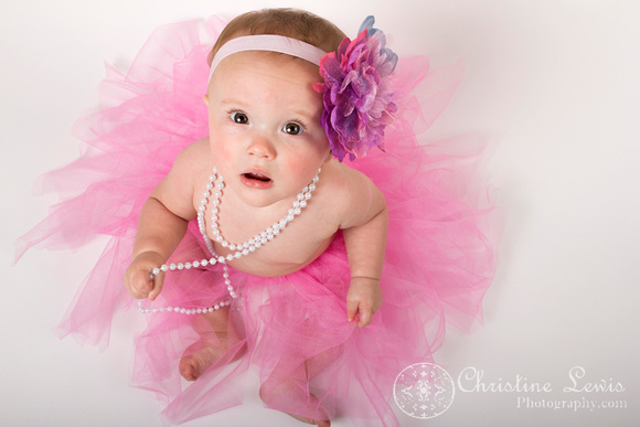 "baby photography, portrait, studio, chattanooga, tn, hixson, ""christine lewis photography"", girl, pearls, tutu, pink, bow"